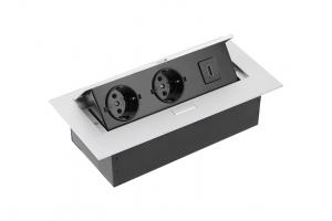 Настольный удлинитель без кабеля 2 гнезда, HDMI, прямоугольный, алюминий